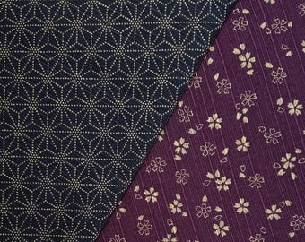 Sevenberry Japan reversible double sided asanoha and sakura dobby cotton in plum and indigo blue
