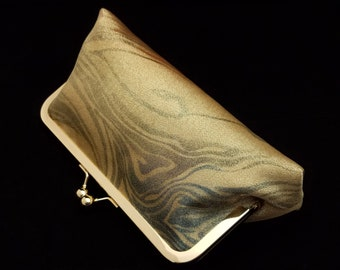 Obi clutch purse bridal evening bag with metal kiss lock closure - metallic gold marble swirl
