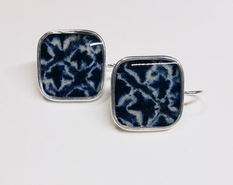 Sterling silver pendant earrings with indigo blue and white colored shibori kimono fabric