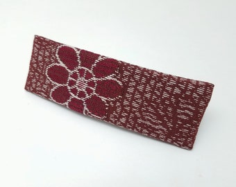 Vintage kimono fabric french hair clip barrette - burgundy silk with woven floral mum design