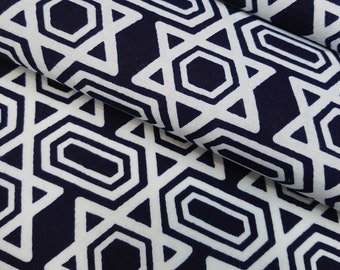 Deep Indigo blue and white cotton yukata kimono fabric - by the yard - stylized Asa-No-ha hemp leaf pattern