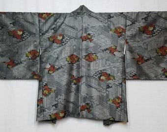 Women's vintage, unused, haori kimono jacket - peony with village scene