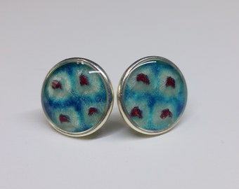 Sterling silver stud earrings with turquoise blue and deep red colored shibori kimono fabric