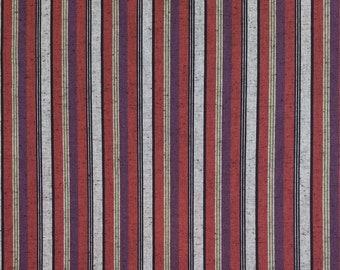 Olympus kofu shima momen yarn dyed shot cotton fabric - burgundy and plum stripes