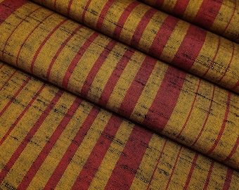 Vintage Golden-brown and red Striped tsumugi wool kimono fabric - by the yard