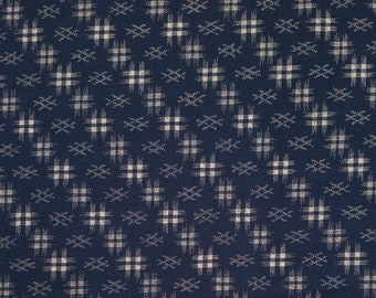 Japanese import new cotton quilting fabric - Sevenberry navy kasuri diagonal cross-hatch