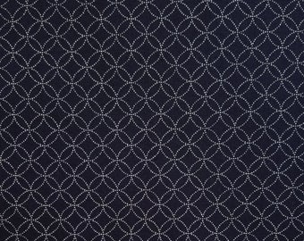Japanese import New indigo colored cotton quilting fabric  - shippo seven treastures pattern