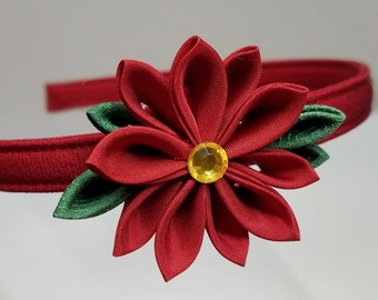 Red poinsettia Kanzashi Christmas or holiday hairband headband