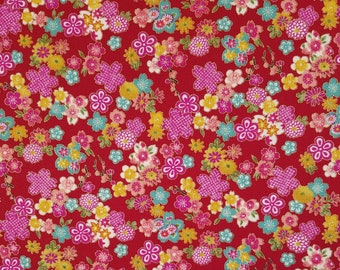 Sevenberry Japan Sakura Brook Metallic Collection - Red Sakura Floral cotton fabric