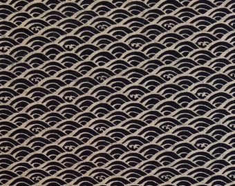 New, Quilt Gate cotton canvas fabric - Hyakka Ryoran Indigo II Seikaiha Wave pattern - fat 1/4