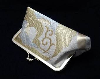 Obi silk clutch purse bridal evening bag with metal kiss lock closure - Gold and Silver cranes