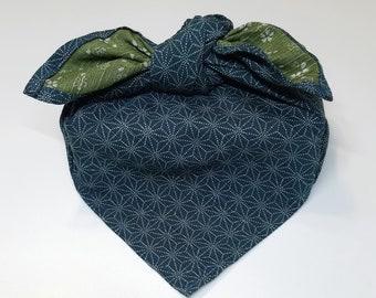 21.5 inch (54.6 cm) Japanese cotton furoshiki wrapping cloth -  sakura and asanoha hemp leaf