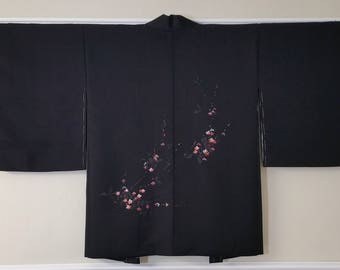 Women's vintage, unused, black Haori kimono jacket - ume plum blossoms and stream