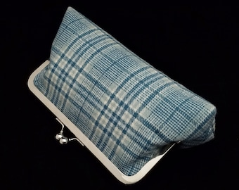 Wool plaid clutch purse with metal kiss lock closure - blue wool plaid