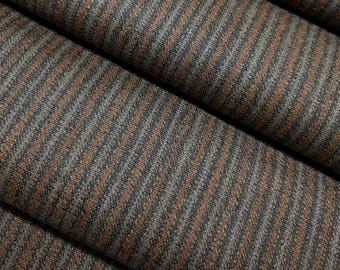Vintage, brown striped, wool kimono fabric with dark blue lining - by the yard