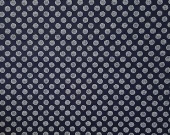 Japanese import New indigo colored cotton quilting fabric  - small chrysanthemum kiku blossom