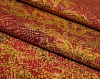 Tsumugi pongee Silk Kimono Fabric with golden bamboo design - by the yard