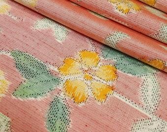 Vintage, Japanese Tokamachi tsumugi, pongee, kimono silk - rose pink with floral - 62 inches (157.5 cm)