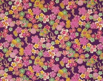 Sevenberry Japan Sakura Brook Metallic Collection - Purple Sakura Floral cotton fabric
