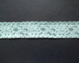 Vintage pale aqua and white floral rose lace Elastic trim- by the yard
