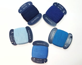Daruma 20/4 thin sashiko thread - Blue hued solid colors - 40 meter skein