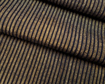 Vintage cotton & silk tsumugi pongee fabric- black and warm brown stripes - 53 inches (134.6 cm)