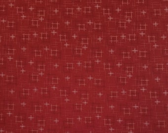 Japanese import new cotton quilting fabric - Sevenberry red kasuri crosshatch