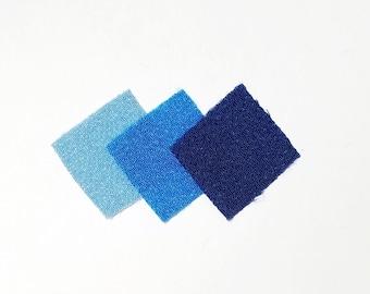 30 - precut 22mm squares for Tsumami Kanzashi - blue hues