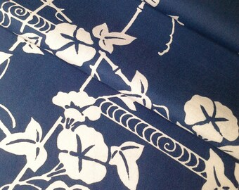 medium blue morning glory and trellis cotton yukata fabric - 40 inches (101.6 cm)