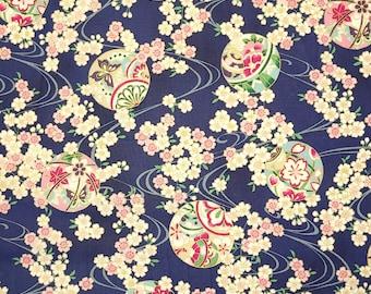 Quilt Gate Hyakka Ryoran Suzune cotton - Temari Balls and Sakura over indigo blue hue