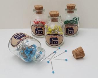 Little House Japan glass head pins in glass jar