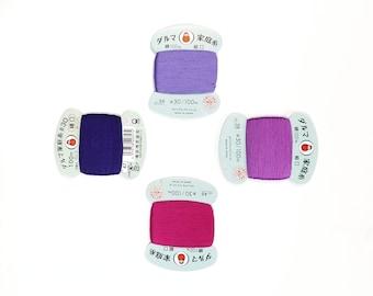 Daruma #30 weight hand stitching thread - Purple and Magenta hues - 100 meter skein