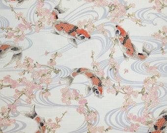 Hokkoh Japan dobby cotton koi, ripples and sakura over warm white hue