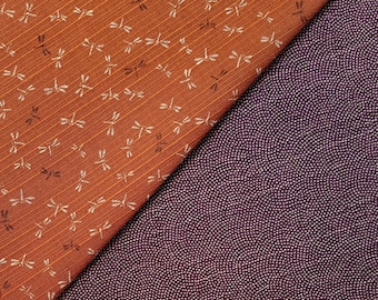 Sevenberry Japan reversible double sided dragonfly and wave dobby cotton in plum and burnt orange