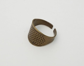 Little House antique bronze hued adjustable ring thimble for hand sewing
