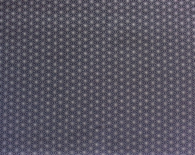 Featured listing image: Japanese import New indigo colored cotton quilting fabric  - sashiko hemp leaf