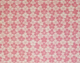 Senyo Japan oxford cotton canvas fabric - pink sakura cherry blossoms