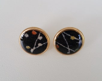 24k gold stud earrings with black patterned kimono fabric