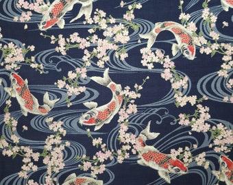 Hokkoh Japan dobby cotton koi, ripples and sakura over Deep Blue hue