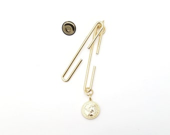 Metallic gold 2 3/4 inch (7cm) Slide Clasp with magnetic snap - made in Japan