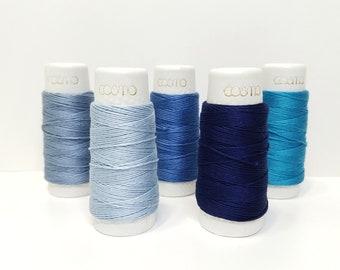 Lecien Cosmo Hidamari sashiko thread - Blue toned solid colors - 30 meter skein