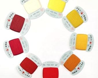 Daruma #30 weight hand stitching thread - Yellow, Orange and Red hues - 100 meter skein