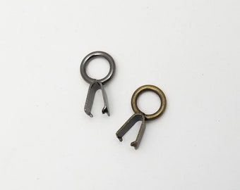 Set of 8 metal 8mm hole Japanese koki clips for pouch making - dark silver or bronze color