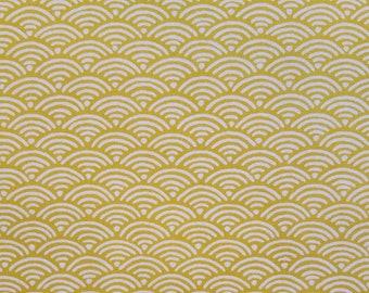 Yamaoka Japan ocher goldenrod wave seigaiha pattern cotton fabric