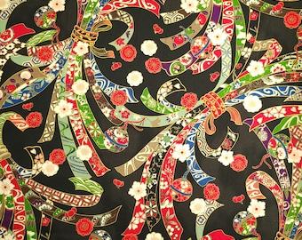 Quilt Gate Hyakka Ryoran Suzune cotton - Noshi and Bells over Black