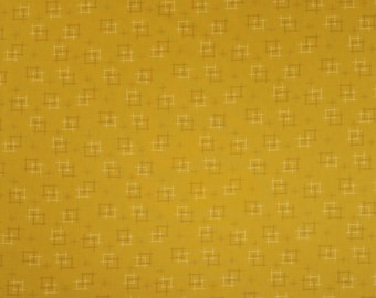Japanese import new cotton quilting fabric - Sevenberry gold ocher kasuri crosshatch
