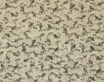 Sevenberry Japan Nara Homespun cotton canvas fabric - wave and koi pattern over beige greige
