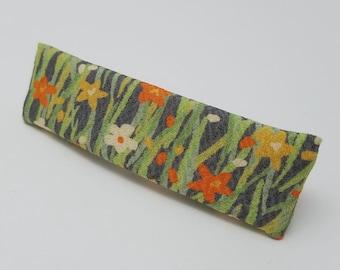 Vintage kimono fabric french hair clip barrette - spring floral silk