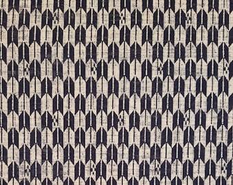 New, Quilt Gate cotton canvas fabric - Hyakka Ryoran Indigo II Yagasuri arrow pattern