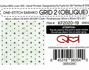QH Textiles sashiko pre-printed wash-away pattern sampler - Diagonal Oblique Grid pattern on natural beige greige